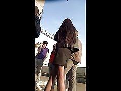 Poslovni djevojka čarape skrivena kamera